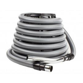 """Boyau pour aspirateur central - 9 m (30') - 32 mm (1 1/4"""") dia - argent - poignée droite - bouton-barrure - flexible - résistant"""