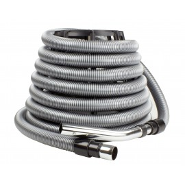 "Hose for Central Vacuum - 30' (9 m) - 1 1/4"" (32 mm) dia - Silver - Straight Handle - Button Lock - Flexible - Strong"