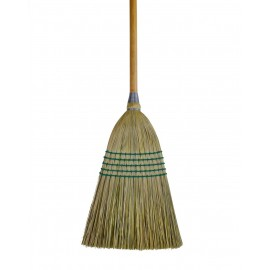 """Corn Broom for Domestic and Commercial Use - 10"""" (25, 4 cm) Cleaning Path - Wooden Handle - 5 strings"""