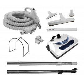 Central Vacuum Accessories Kit - 50' (15 m) Electrical Hose - Power Nozzle - Floor Brush - Dusting Brush - Upholstery Brush - Crevice Tool - 2 Telescopic Wands - Hose and Tools Hanger