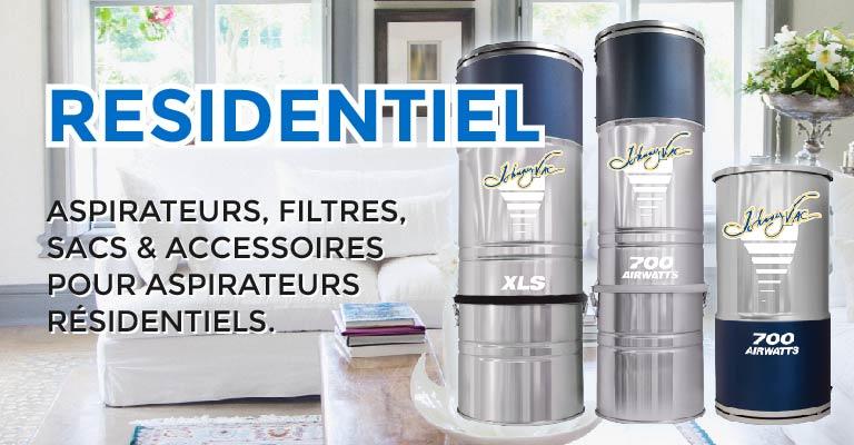 Aspirateurs, filtres, sacs & accessoires pour aspirateurs résidentiels.