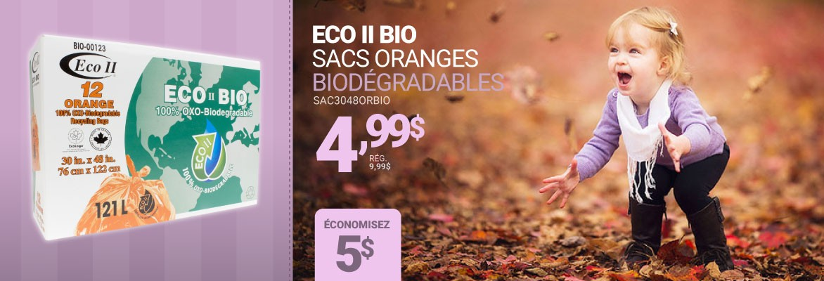 Eco II Bio - Sacs oranges biodégradables